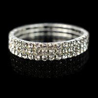 Wholesale Cheap Star Bracelets - 2017 New Cheap 3 Row Rhinestone Bangle Wedding Bracelets Bridal Jewelry Cheap Bracelet for Wedding Party Evening Prom Dress