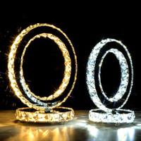 lâmpadas de mesa de anel venda por atacado-lâmpada de mesa LED moderna levou a iluminação de cabeceira anel armário de cristal mesa de luz de cristal de aço inoxidável para o quarto escritório estudo