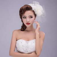 Wholesale Sinamay Veil - 2016 Luxury Bridal Hats Vintage Handmade Gauze Lace Bowknot Flower Crystal Beaded Veil Elegant Tulle Hair Accessories Headdress