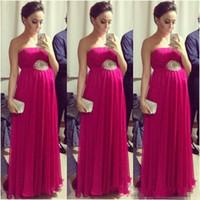 Wholesale Hot Dresses Pregnant Women - Hot Sale Fuchsia Empire Pregnant Prom Dresses 2017 Strapless Sleeveless Pleated Maternity Women Evening Formal Dress Red Carpet Celebrity