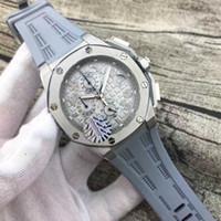 Wholesale Steel Dive Case - Luxury Swiss Brand Mens Limited Silver Case Offshore Quartz Chronograph Watch Stainless Steel Men Sport Oak James Grey Rubber Dive Watches