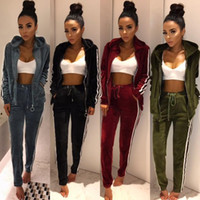 Wholesale Women Velvet Tracksuits - 2017 New Arrival Womens Tracksuits strip spliced velvet tracksuit winter two piece set top and pants full sleeve casual set velour sweatsuit