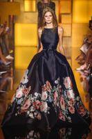 Wholesale High End Red Evening Dresses - 2016 Spring Elie Saab Jewel Neck Floral Print Flower Evening Gowns A Line Satin Prom Dresses High End Long Pageant Celebrity Dresses BO9839