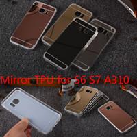 huawei g4 achat en gros de-Pour Samsung Galaxy S7 LG G3 G4 V10Case Miroir En Aluminium En Métal + Silicone Clair TPU Téléphone Cas Pour Huawei P8 P8lite Couverture De Luxe