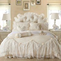 Wholesale Bedspread Silk - Light white Jacquard Silk Princess bedding set 4pcs silk Lace Ruffles duvet cover bedspread bed skirt bedclothes king queen size