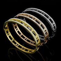 Wholesale Singles Bangles - Wholesale jewelry jewelry titanium luxury brand single row stone bangles bracelet rose gold bracelets for women