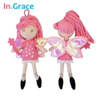 Wholesale Cheap Magic Wands - Wholesale-InGrace pretty fairy magic mini dolls with star wand shining wings red princess doll for girls handmade cheap little toys 23cm