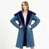 Wholesale Designer Hood Coats - Wholesale-Blue Genuine Leather Coat 2016 New Arrival Thin Warm Sheepskin Hooded Fur Coat Women Designer Brand Winter Leather Fur Parkas