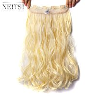 "Wholesale Clip Hair Extensions Kanekalon - Neitsi 1PC 107g 22"" 613# Blonde Color 5Clips Kanekalon Synthetic Braiding Hair Pieces Clip In Hair Curly Wavy Weave Extensions"