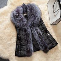 Wholesale Women Winter Leather Vest - Fashion Faux Fur Shawl Collar Vest Jacket For Women Sleeveless Zipper Pocket Quilited Warm Coats Slim Winter Leather Jackets