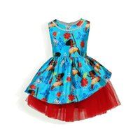 Wholesale Animal Print Tulle - Moana Princess Pearl Necklace Tulle Dress Kids Cartoon Patchwork Dresses Printed Princess Skirt Cosplay Costume Party Fancy Dress OOA2562