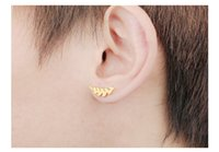 Wholesale Fake Ear Gauges - Fashion Unisex Stainless Steel Leaf Stud Earrings Cheater Fake Ear Plugs Gauges Illusion Tunnel Stud Punk Style, Silver Gold Black