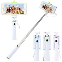 Wholesale aluminum alloy selfie monopod - Universal Extendable Folding Mini Portable Wired Selfie Stick Monopod for Samsung Galaxy S6 S7 edge iphone IOS Android smartphone