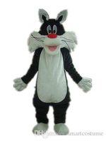 vizyon maskot kostümleri toptan satış-SX0723 Iyi görüş ve iyi Ventilationa siyah kedi maskotu suit maskot kostüm yetişkin giymek için