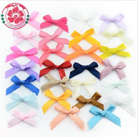 Wholesale Gift Satin Bow - 200pcs lot Wholesale Handmade DIY Pre Tied Satin Ribbon Gift Package Bow Wedding Scrapbooking Embellishment Crafts Accessory