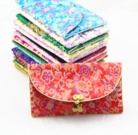 Wholesale Grey Napkins - Creative Chinese Button Silk Brocade 3 Set of Purse Long Wallet with Coin Bags Napkin pack Women Craft Fabric Pouches Clutch Bag for Gift