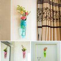 Wholesale wall color art online - Plastic Flower Vases Creative Fish Type Wall Mount Vase For Home Garden Decor Arts And Crafts Multi Color bq C R