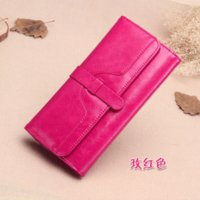 Wholesale Bag Leather Long - NEW DESIGN fashion genuine leather wallet women long style cowhide purse wholesale and retail leather bag free shipping