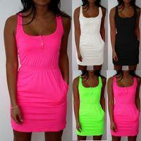 Wholesale low cut tanks xl - Wholesale- Big Plus Size 2XL 3XL 4XL 5XL 2017 Women Dress Summer Candy Color Low Cut Buttons Pleated Waist Tank Dress Causal Dresses