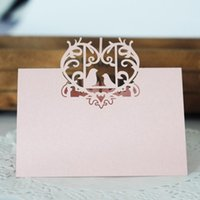 20 Unids / lote Love Heart Laser Cut Tabla de Recepción de Boda Nombre Tarjetas de Lugar tarjeta de Asiento Hollow Love Birds Wedding Party Decoration 5Z