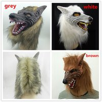 On Sale Masque Wolf Masque Masque Animal Masque Latex Horreur Halloween Party Masque Scary Carnaval Parti Costume gris brun Blanc DHL livraison gratuite