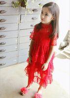 Wholesale Kids Dresses Order - Pre-order Kids Girls Lace Party Dresses Baby Girl Princess Cake Dress Girl Summer Ruffle Half Sleeve Dress 2016 Babies Wholesale Clothing