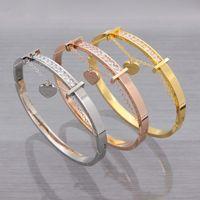 "Wholesale Sales Forever - Hot Sale Women Charm Bracelets & Bangles 18K Gold Plated Stainless Steel Crystal ""Forever love"" Heart Bracelet For Women Jewelry"