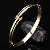 Wholesale Stylish Men Silver Chains - 2016 Love Bangle Titanium jewelry Stainless Steel Luxury Brand Stylish Screws Nail Bangle Women Man Bracelet CC valentine's day