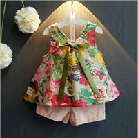 Wholesale Cute Ribbon Bows - Free shipping 2016 summer suits cute flower printing tops sleeveless vest & pink shorts clothing set for girls ribbon and bow