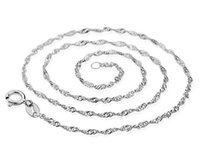 Wholesale 925 silver water wave chain resale online - Fashion Necklace Chain mm inch silver necklaces water wave chains jewelry for women party gift