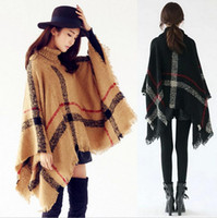 Wholesale Turtle Scarves - Fashion Pashmina Lady High Turtle Neck Plaid Poncho Women Knitted Striped Tassel Sweater with Fringe Scarf women Winter Warm Shawl
