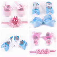 Wholesale Cheap Newborn Girl Shoes - Toddler Shoes flower girl shoes princess toddler first walker shoes + headbands sets newborn baby shoes children shoes kids cheap wholesale
