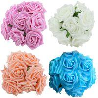 Wholesale flower posies for sale - Group buy 10Pcs Rose Flowers Head Party Wedding Bridal Bouquet Decoration Posy E00013 BARD