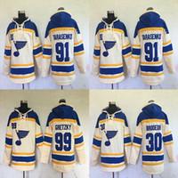 chandails à capuchon de hockey wayne gretzky achat en gros de-Sweat à capuche Homme St. Louis Blues 91 Vladimir Tarasenko 99 Wayne Gretzky 30 Maillots de Hockey Martin Brodeur Sweats à Capuche