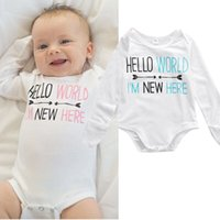Wholesale Long Sleeve New Baby Bodysuit - 2016 autumn baby sleepsuit Newborn Toddlers Baby Boys Girls Rompers hello world I'M NEW HERE funny Jumpsuit Bodysuit Clothes Outfits 0-12M