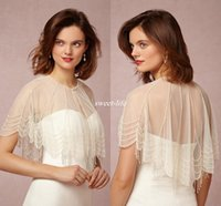 Wholesale Bridal Capelet - New Design 2016 White Ivory Wedding Bridal Wrap Jacket Crew Neck with Trickling Pearl Capelet Custom Made Sheer Tulle Wrap for Bride Cheap
