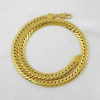 Wholesale Elegant Chunky Necklaces - 10mm 24inch Elegant Fashion Men 24K Gold Plated Chunky Necklaces Cuban Link Chain Necklace Jewelry For Xmas Gift