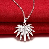Wholesale Sterling Silver Fireworks Charm - Trendy 2.9X2.5CM 925 Sterling Silver Plated Fireworks Pendant Necklaces 45CM Link Chain For Women Fashion Flower Jewelry N784
