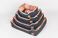 Wholesale Colorful Dog Beds - Pinco Colorful Stripe Bolster Tear-Resistant Pet Bed for Cats & Dogs, Removable & Machine Washable Cover, Extra Comfy Cotton-Padded