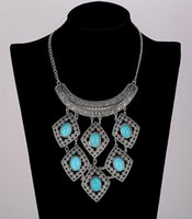 Wholesale Tribal Pendants Wholesale - Collier Big Collar Necklace Bib Chain Antique Plt Choker Turquoise Turkish Gypsy Ethnic Hippy Bohemian Tibet Tribal Necklaces