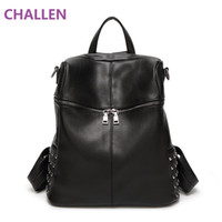 Wholesale Back Bags For Girls - Bags for Women Designer Rivets Genuine Leather Backpack Vintage High Quality Girls School Rucksack Ladies Best Back Pack