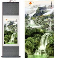 Wholesale silk scrolls resale online - 1 Piece Mountain And River Home Office Decoration Chinese Scroll Silk Wall Art Poster Picture Painting For Living Room