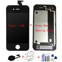 Wholesale Display Touch Digitizer Back Cover - LCD Display Digitizer + Touch Screen + Glass Back Housing Cover + Home Button + Screw Tools Replacement Part For iPhone 4 4G 4S