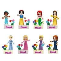 Wholesale Snow Blocks - 480pcs lot Snow White Princess Building Blocks Kids Diy Bricks Model Toy figures