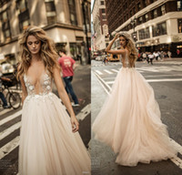 Wholesale Beaded See Through Wedding Dresses - Berta Fall 2017 Sexy Deep V Neck See-through Backless Wedding Dresses Illusion Neckline Tulle Floor Length Beaded Flowers Bridal Gowns