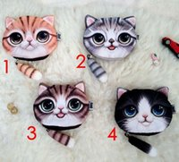 Wholesale Cat Money Purse - Small Tail Cat Catton Purse Mini Coin Money Bag Wallet Animal Print Pouch Pocket Women Girl