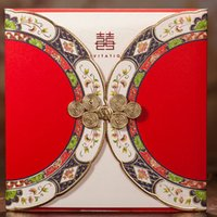 Wholesale Double Fold Wedding Invitations - Chinese Red Double Xi Gold Edge Wedding Invitations Cards, By Wishmade, CW3082