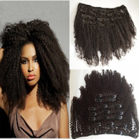 Wholesale clip kinky curly resale online - Clip In Human Hair Extensions Afro Kinky Curly Brazilian Human Hair Natural Black Clip In Hair G EASY