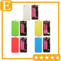 boîtier à mi-cadre achat en gros de-OEM Pour Apple iphone 5C Retour Batterie Case Cover Case Moyen milieu Frame avec pièces de rechange complètes Assemblée Pièces De Rechange 1Pcs / Lot
