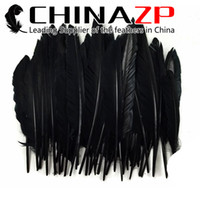 Wholesale Black Ducks Costume - Wholesale 100pieces lot Size 30-35cm(12-14inch) Eco-friendly Dyed Black Duck Pointer Primary Wing Feathers for Costume Decorations